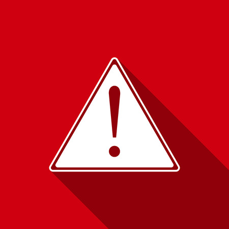 Exclamation mark in triangle icon isolated with long shadow. Hazard warning sign, careful, attention, danger warning important information sign.
