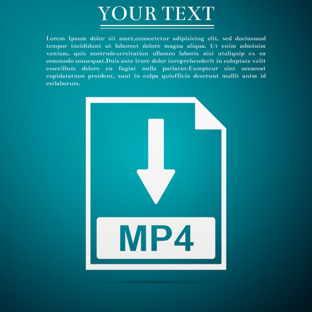 MP4 file document icon. Download MP4 button icon isolated on blue background. Flat design. Vector Illustration Illusztráció