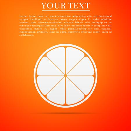 Orange in a cut, citrus fruit icon isolated on orange background. Healthy lifestyle flat design vector illustration. 일러스트