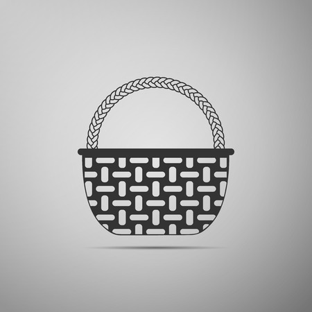 Wicker basket icon isolated on grey background. Flat design. Vector Illustration 向量圖像