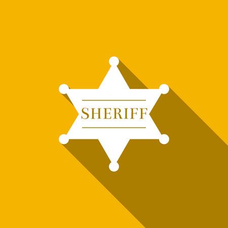 Hexagonal sheriff star icon isolated with long shadow. Sheriff badge symbol. Flat design. Vector Illustration