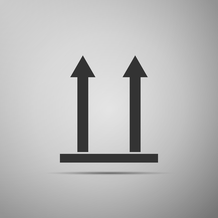 This side up icon isolated on grey background. Two arrows indicating top side of packaging.  Flat design  Vector Illustration