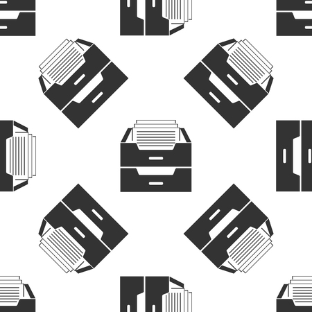 Drawer with documents icon seamless pattern on white background. Archive papers drawer. File Cabinet Drawer. Office furniture. Flat design. Vector Illustration Vettoriali