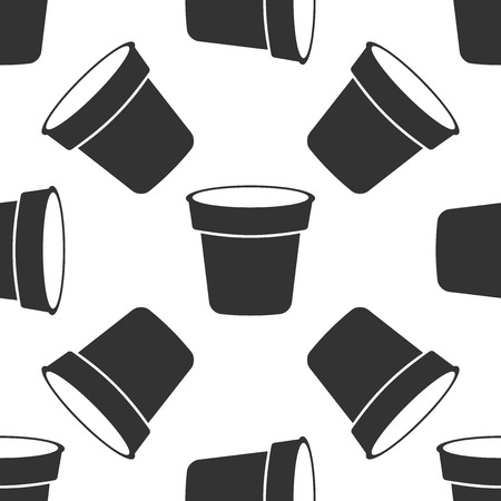Flower pot icon seamless pattern on white background. Flat design. Vector Illustration 일러스트