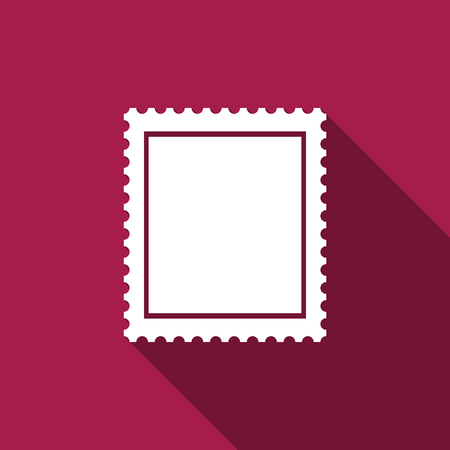 Blank Postage Stamp Template With Shadow Vector Illustration
