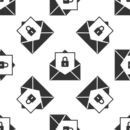 Secure mail icon seamless pattern on white background. Mailing envelope locked with padlock. Flat design. Vector Illustration