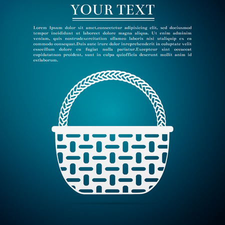 Wicker basket icon isolated on blue background. Flat design. Vector Illustration