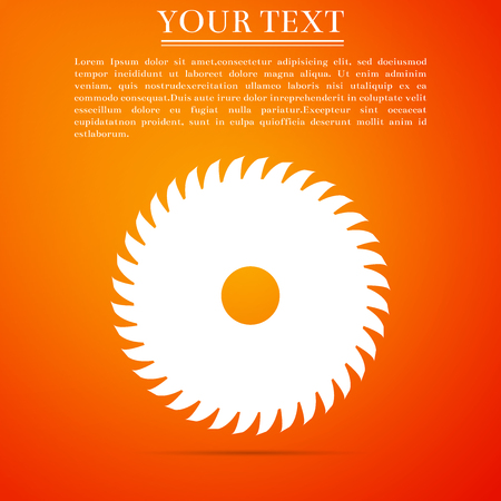 Circular saw blade icon isolated on orange background. Saw wheel. Flat design. Vector Illustration
