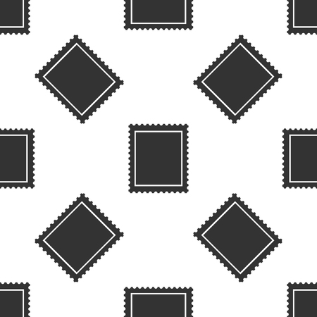 Postal stamp icon seamless pattern on white background. Flat design. Vector Illustration Vectores