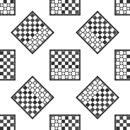 Board game of checkers icon seamless pattern on white background. Ancient Intellectual board game. Chess board. White and black chips. Flat design. Vector Illustration Vettoriali