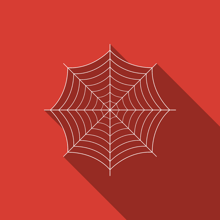 Spider web icon isolated with long shadow. Cobweb sign. Flat design. Vector Illustration