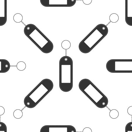 Key chain icon seamless pattern on white background. Blank rectangular keychain with ring and chain for key. Flat design. Vector Illustration Illustration