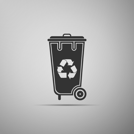 Trash bin with recycle symbol icon. Illustration