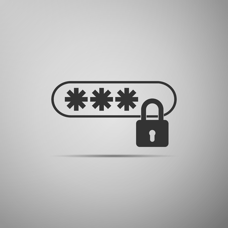 Password Protection icon isolated on grey background. Flat design. Vector Illustration.