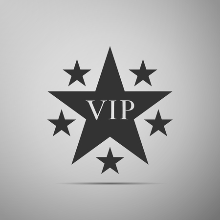 Star VIP with circle of stars icon isolated on grey background. Flat design. Vector Illustration