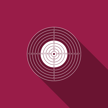 Target sport for shooting competition icon isolated with long shadow. Clean target with numbers for shooting range or pistol shooting. Flat design. Vector Illustration