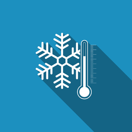 Thermometer with snowflake icon isolated with long shadow. Flat design. Vector Illustration