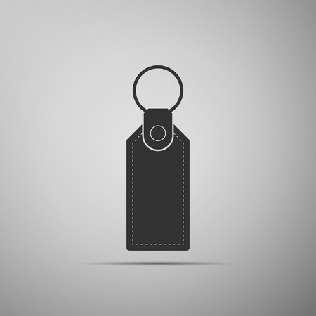 Rectangular key chain with ring for key icon isolated on grey background. Flat design. Vector Illustration