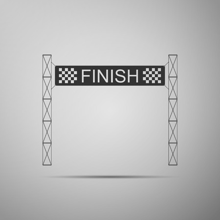 Ribbon in finishing line icon isolated on grey background. Symbol of finish line. Sport symbol or business concept. Flat design. Vector Illustration Vectores