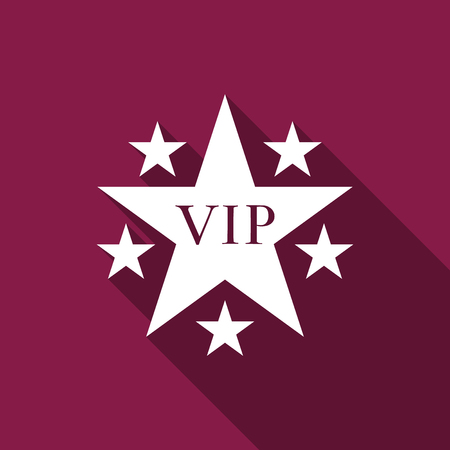Star VIP with circle of stars icon isolated with long shadow. Flat design. Vector Illustration