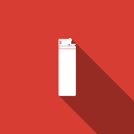 Lighter icon isolated with long shadow. Flat design. Vector Illustration
