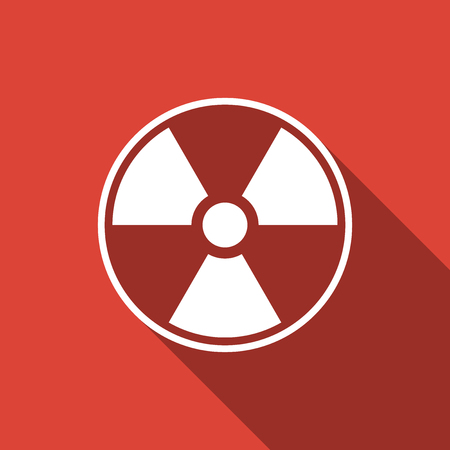 Radioactive icon isolated with long shadow. Radioactive toxic symbol. Radiation Hazard sign. Flat design. Vector Illustration