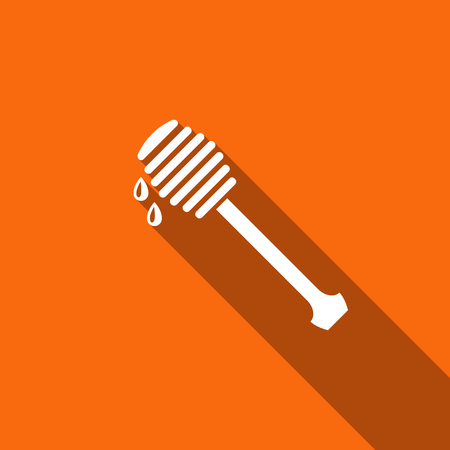 Honey dipper stick with dripping honey icon isolated with long shadow. Honey ladle. Flat design. Vector Illustration Illustration