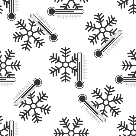 Thermometer with snowflake icon seamless pattern on white background. Flat design. Vector Illustration