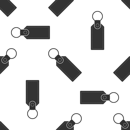 Rectangular key chain with ring for key icon seamless pattern on white background. Flat design. Vector Illustration