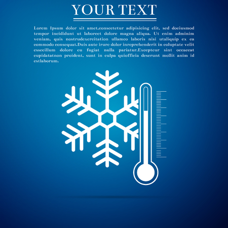 Thermometer with snowflake icon isolated on blue background. Flat design vector illustration.