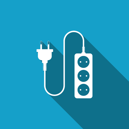 Electric extension cord icon isolated with long shadow. Power plug socket. Flat design. Vector Illustration.
