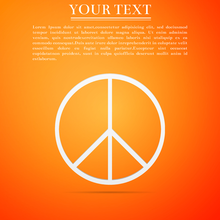 Peace sign icon isolated on orange background. Hippie symbol of peace. Flat design. Vector Illustration. Illustration