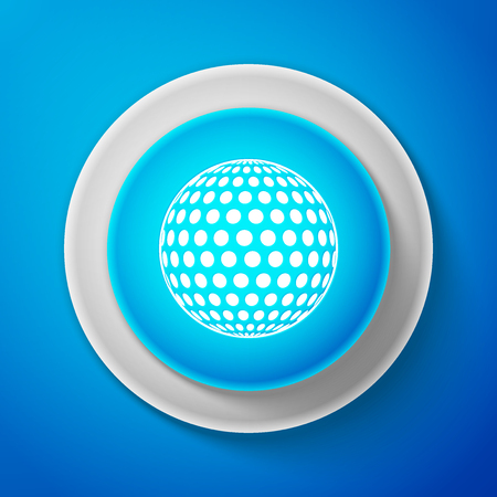 White Golf icon isolated on blue background. Circle blue button with white line. Vector Illustration Illustration