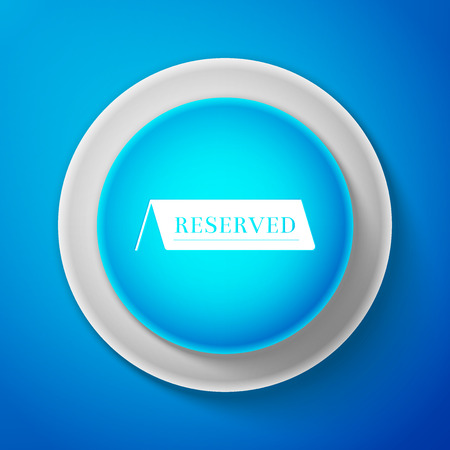 White Reserved icon isolated on blue background. Circle blue button with white line. Vector Illustration Vectores