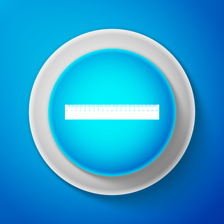 White Ruler icon isolated on blue background. Straightedge symbol. Circle blue button with white line.