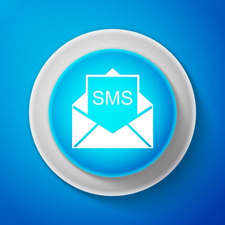White Envelope icon isolated on blue background. Received message concept. New, email incoming message, sms. Mail delivery service. Circle blue button with white line.
