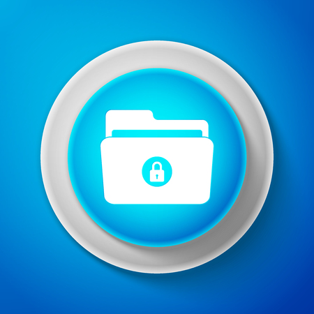 White Locked folder icon isolated on blue background. Circle blue button with white line.