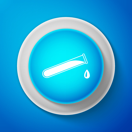 White Test tube and flask - chemical laboratory test icon isolated on blue background. Circle blue button with white line. Vector Illustration