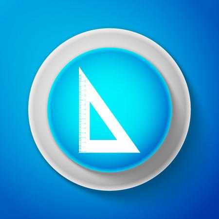 White Triangular ruler icon isolated on blue background. Illustration
