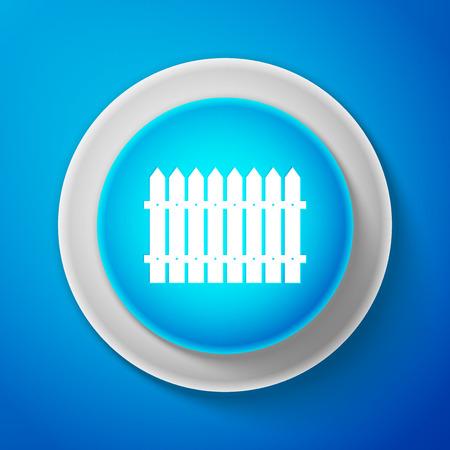 White Fence icon isolated on blue background vector illustration