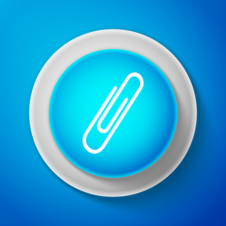 White Paper clip icon isolated on blue background. Circle blue button with white line. Vector Illustration