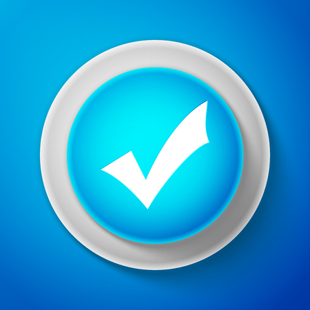 White check mark icon isolated on blue background. Tick symbol circle blue button with white line vector illustration.