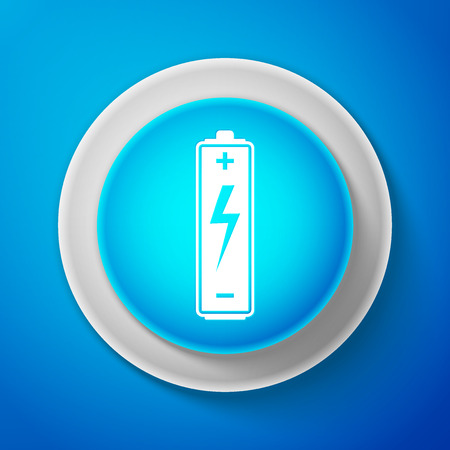 White Battery icon isolated on blue background. Circle blue button with white line.