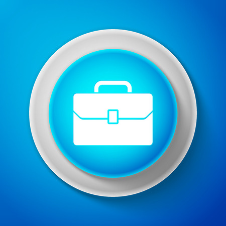 White Briefcase icon isolated on blue background. Business case sign. Circle blue button with white line. Vector Illustration Illustration