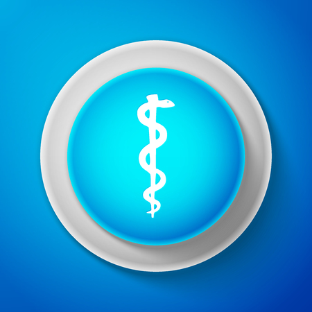 White Rod of asclepius snake coiled up silhouette icon isolated on blue background. Medicine and health care concept. Emblem for drugstore or medicine, pharmacy snake symbol. Vector Illustration