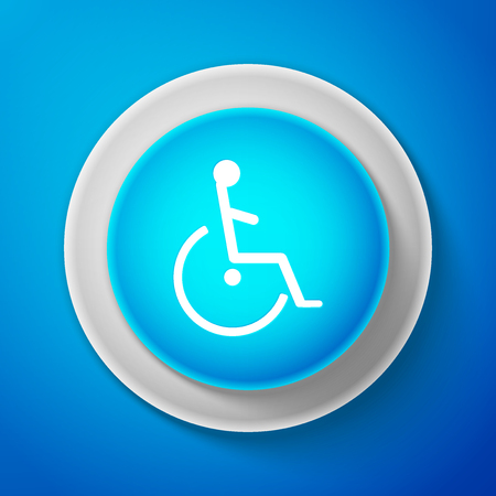 White Disabled handicap icon isolated on blue background. Wheelchair handicap sign. Circle blue button with white line. Vector Illustration Illustration
