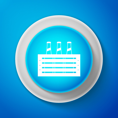 White Pack of beer bottles icon isolated on blue background. Circle blue button with white line. Vector Illustration