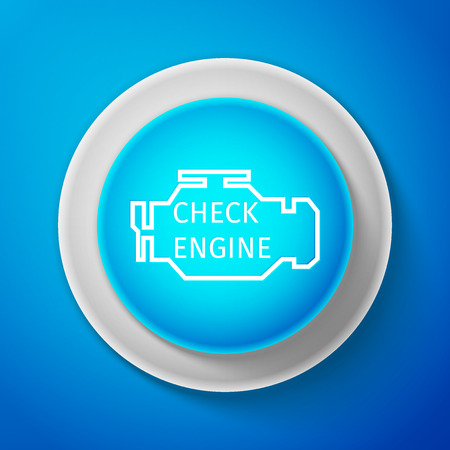 White Check engine icon isolated on blue background. Circle blue button with white line. Vector Illustration Illustration