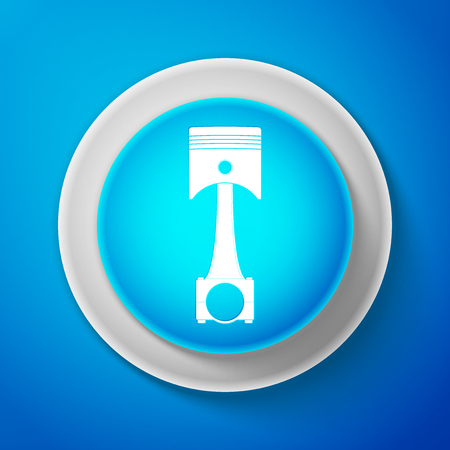 White Engine piston icon isolated on blue background. Car engine piston sign. Circle blue button with white line. Vector Illustration