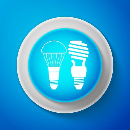 White Economical LED illuminated lightbulb and fluorescent light bulb icon isolated on blue background. Illustration